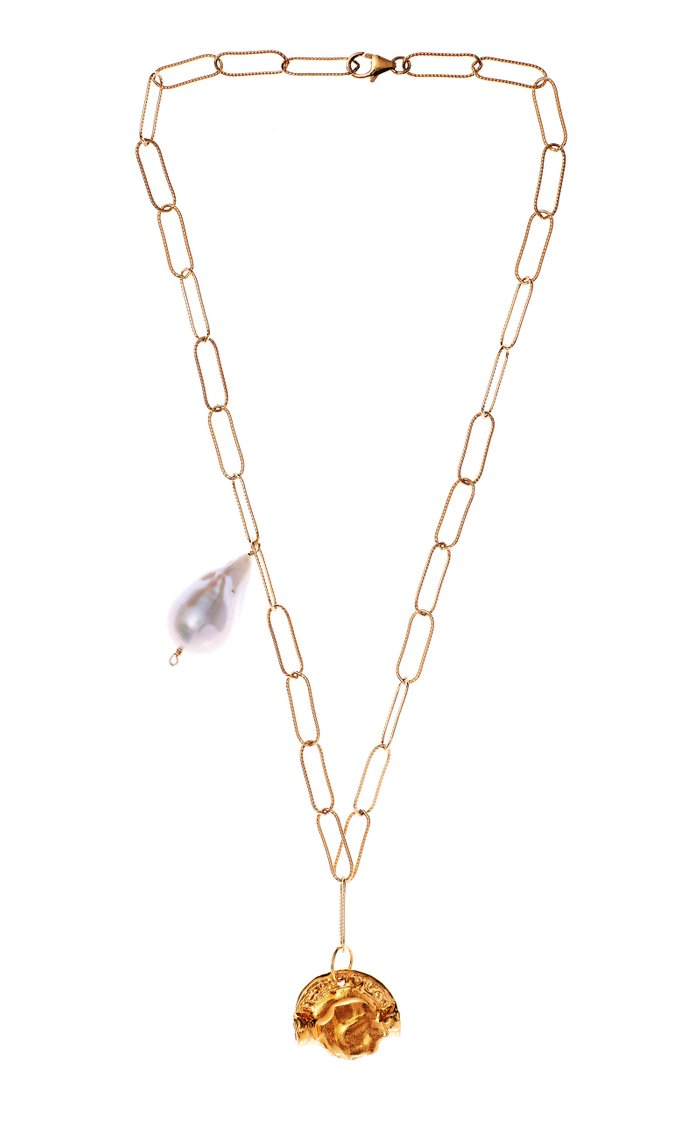 The Refrain of the Night Pearl 24K Gold-Plated Necklace