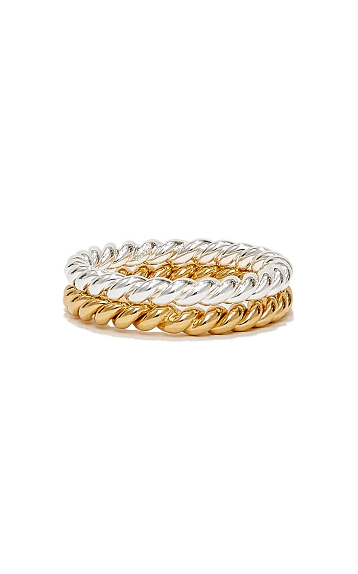 Twisted Sterling Silver and Gold-Plated Ring Set