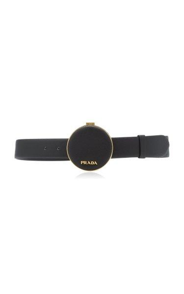 Saffiano Leather Round Belt Bag