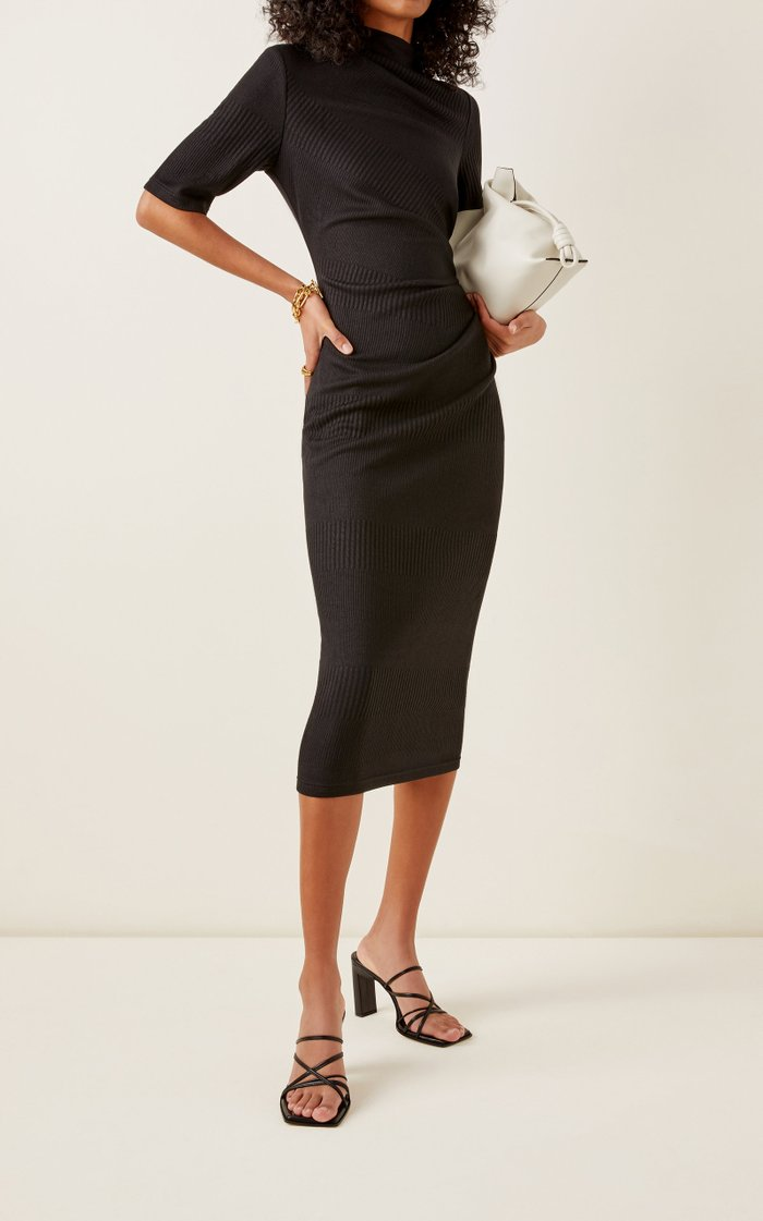 Parkfield Asymmetrical Neck Short Sleeve Midi Dress
