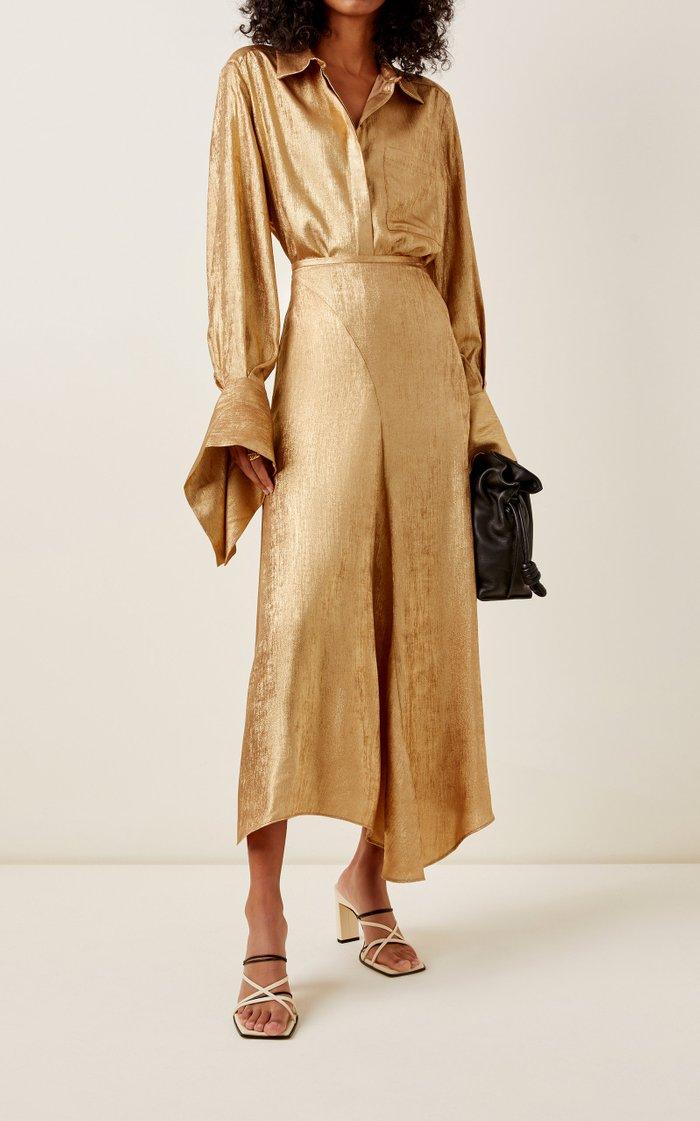 Llewyn Satin-Jacquard Maxi Skirt