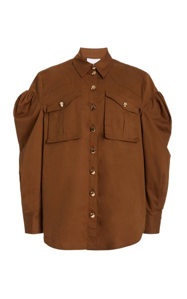 Dunbar Puff-Sleeve Cotton Shirt