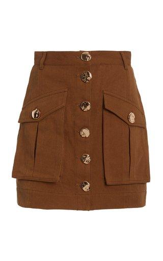 Dunbar Cotton Button-Front Mini Skirt