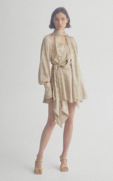 Woolmore Puffed Sleeve Waist-Tie Mini Dress