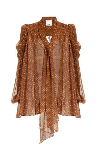 Swansea Puff-Sleeve Polka-Dot Georgette Tie-Neck Top