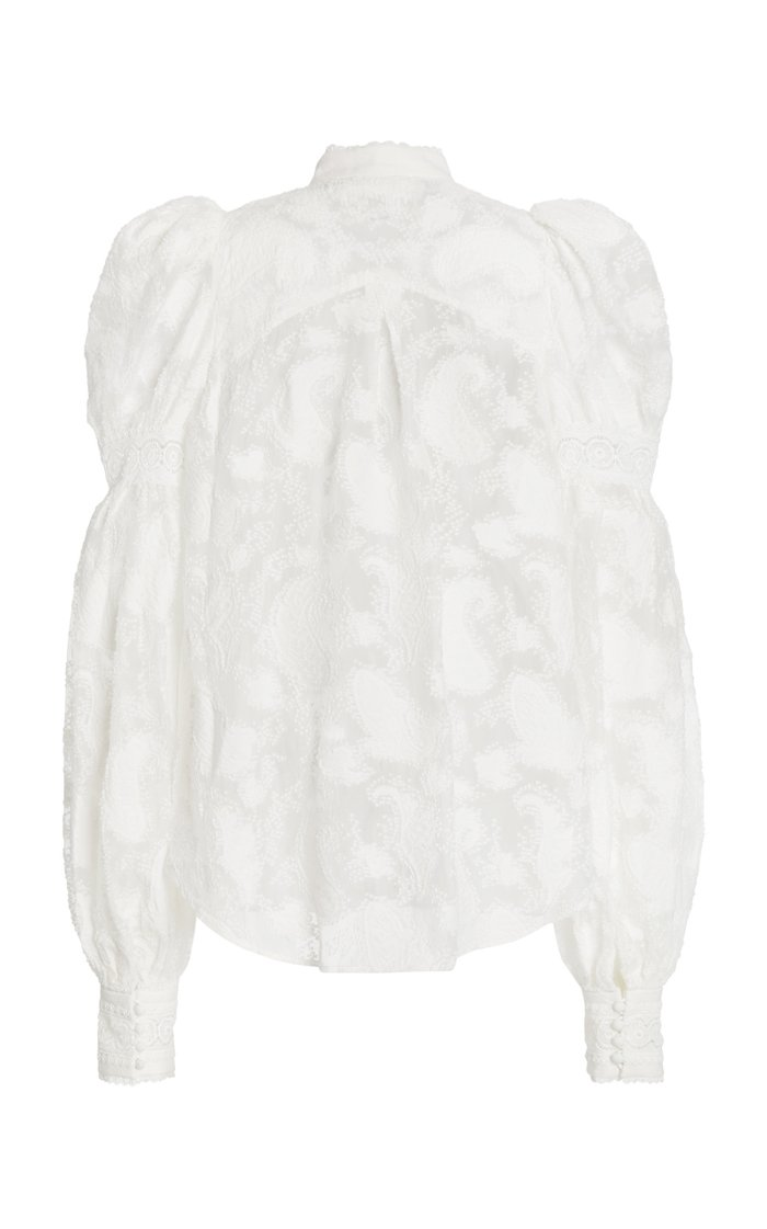 Suffield Puffed-Shoulder Lace Blouse