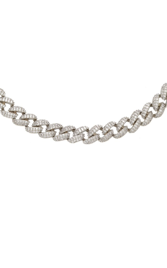 Armure Pavé Curb Silver-Plated Cubic Zirconia Necklace
