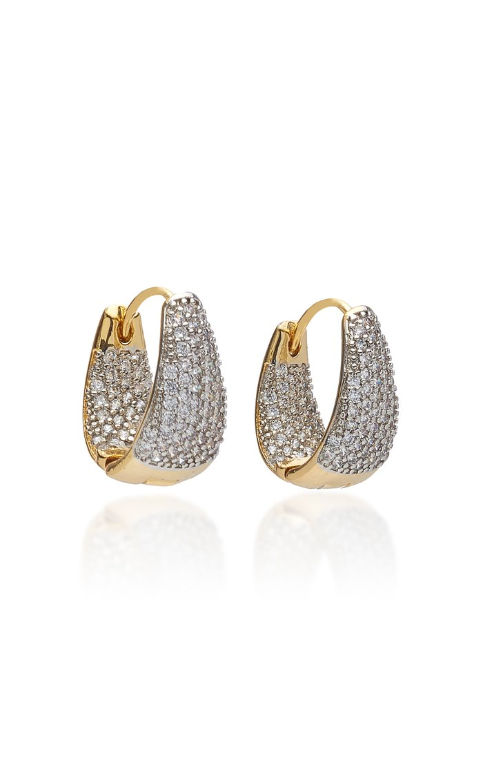 Pave Crystal Gold-Plated Huggie Earrings