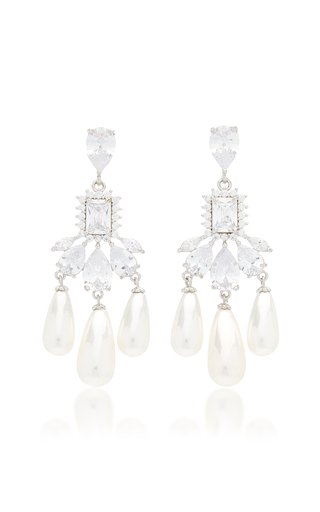 Buckingham Silver-Plated Brass Pearl and Crystal Earrings