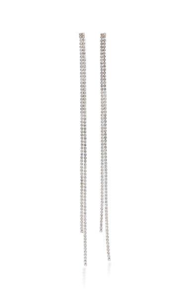 Liquid Diamanté Crystal-Embellished Brass Duster Earrings