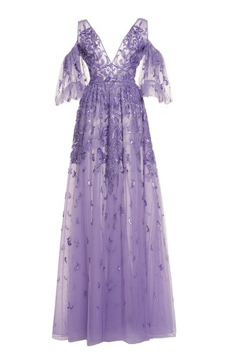 Specialorder-Fosteriana Beaded Tulle Cold-Shoulder Gown-YB