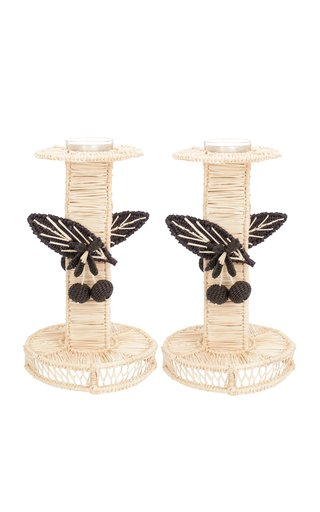 Set-Of-Two Berries Candlesticks