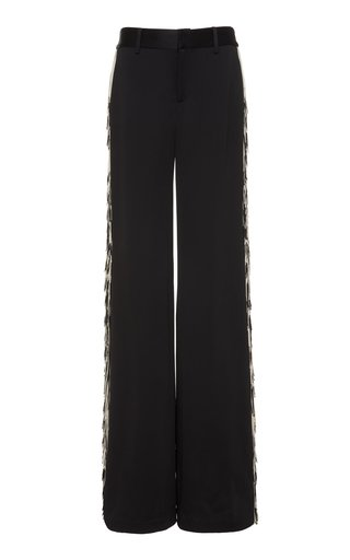 Specialorder-Fringed Satin Wide-Leg Pants-AME