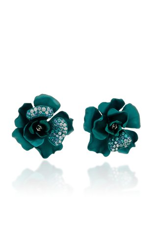 Camelia 18K White Gold Vermeil Diamond, Aquamarine Earrings