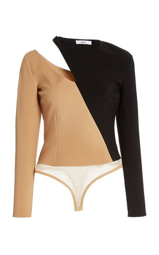 Tamara Two-Tone Crepe Bodysuit