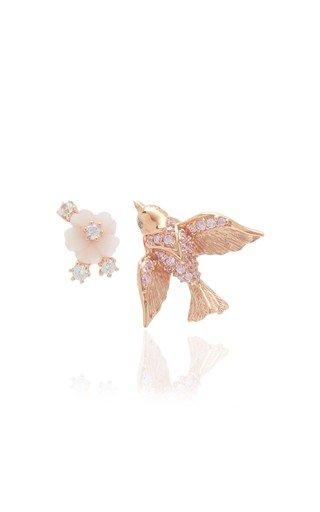 Swallow 18K Rose Gold Vermeil Diamond Earrings