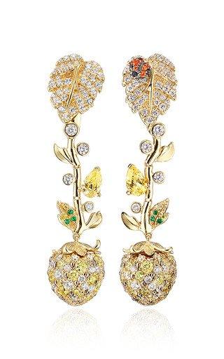 Strawberry Vine 18k Gold Multi-Stone Drop Earrings