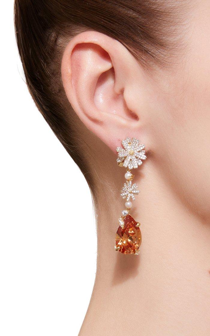 Convertible Daisy Citrine 18K Gold Vermeil Earrings