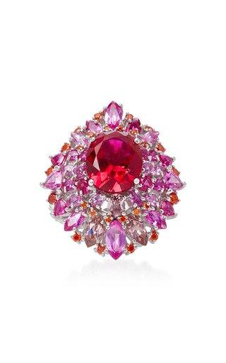 Mirage Ruby 18K White Gold Vermeil Ring