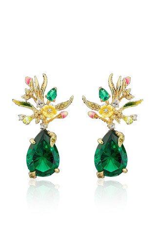 Convertible Mini Posie Emerald 18K Gold Vermeil Earrings