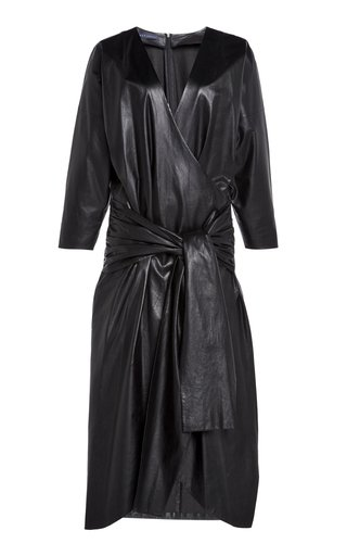 Specialorder-Leather Wrap Midi Dress Ankle-Length-AP