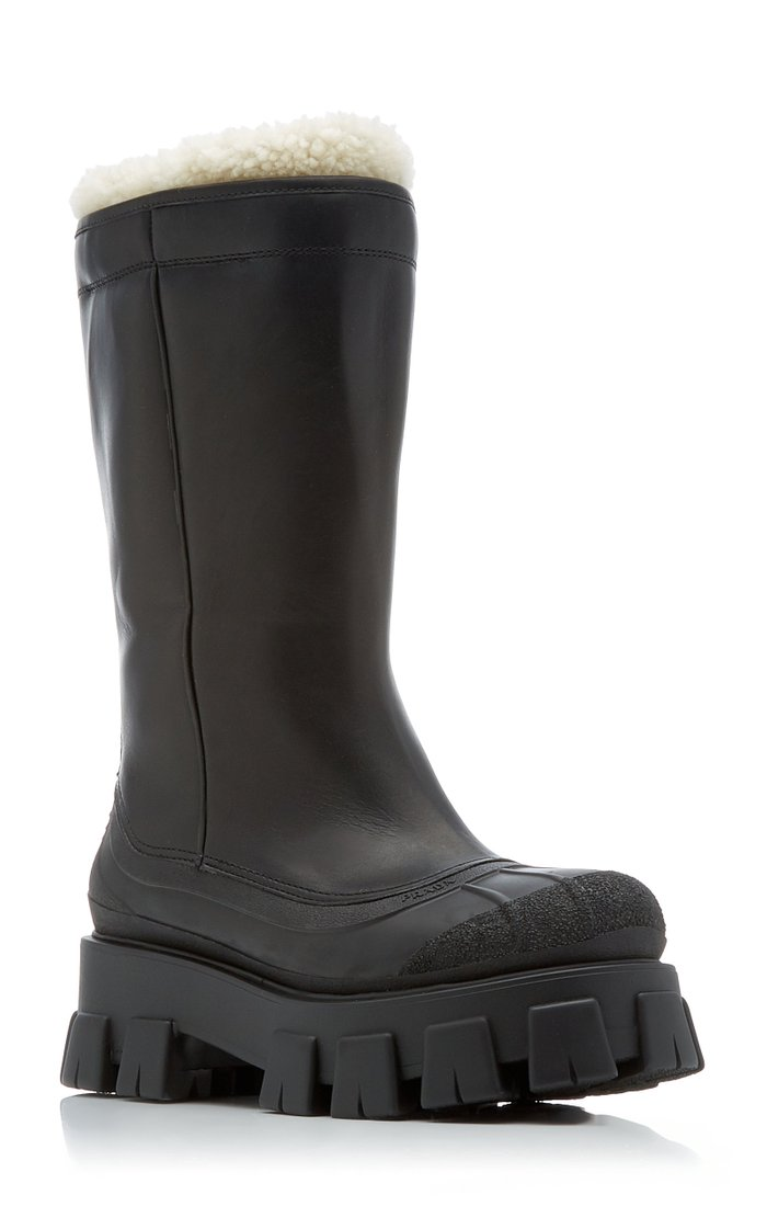 Lug Sole Shearling-Trimmed Leather Boots