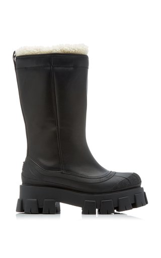 Monolith Shearling-Trimmed Leather Boots