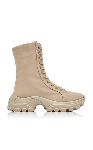 Washed Denim Combat Boots