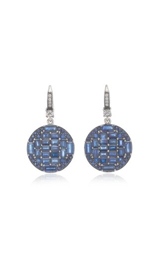 Nam Cho 18k White Gold Sapphire And Diamond Earrings In Blue