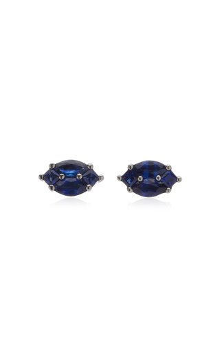 Nam Cho Invisible Sapphire 18k White Gold Earrings In Blue