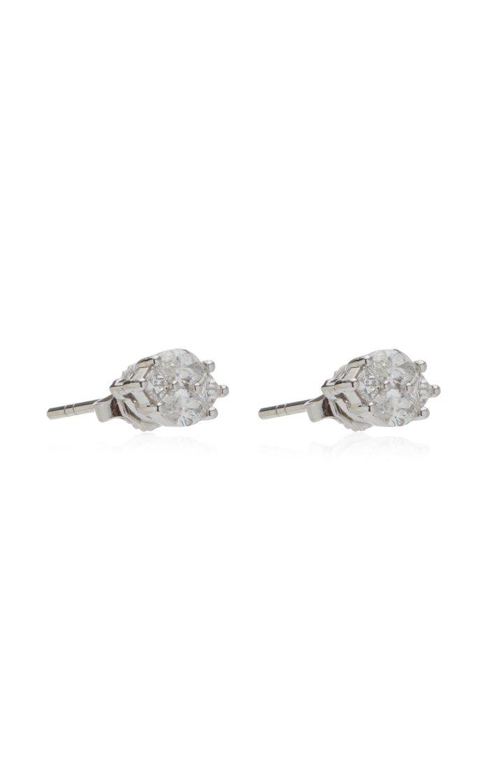 Invisible Diamond 18K White Gold Earrings