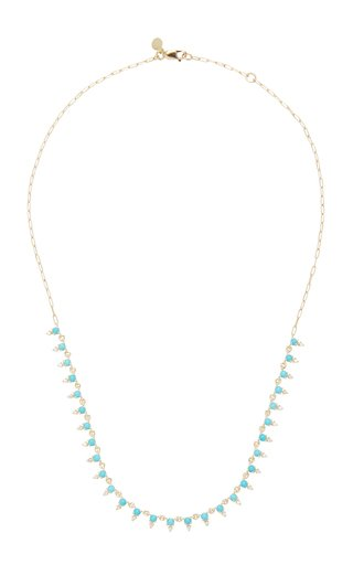 Deja 14K Gold Turquoise and Diamond Necklace