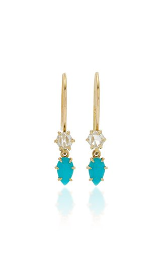 Primary 14K Gold Turquoise and Diamond Earrings