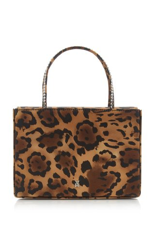 Amini Gilda Crystal-Trimmed Leopard-Print Satin Bag