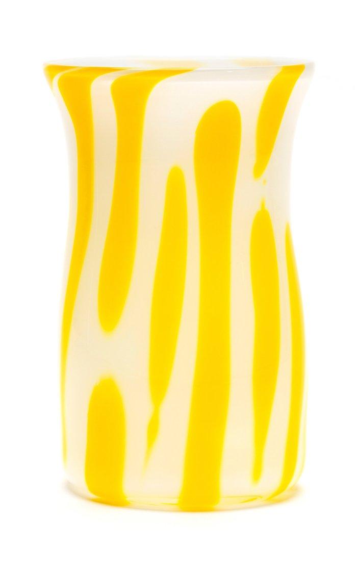 White & Yellow Stroke Vase