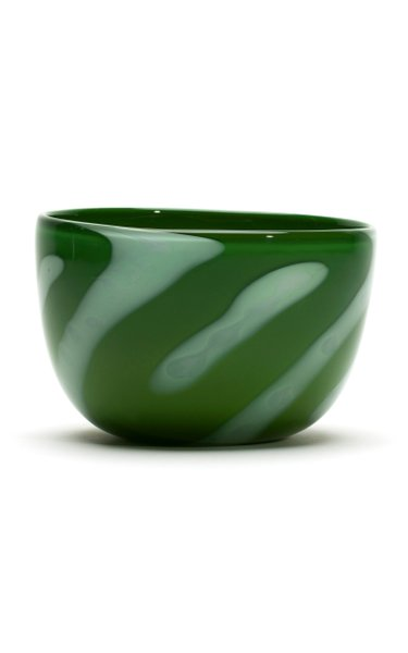 Green & White Stripe Bowl