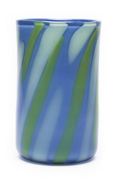 Periwinkle, Green & White Stripe Vase