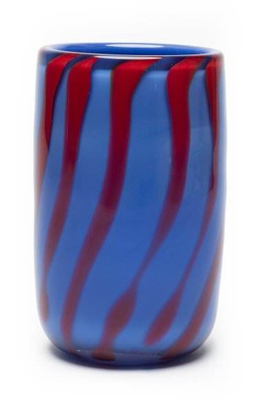 Periwinkle & Red Stripe Vase