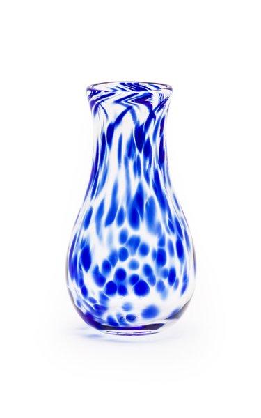 Royal Blue & Transparent Spotted Bud Vase