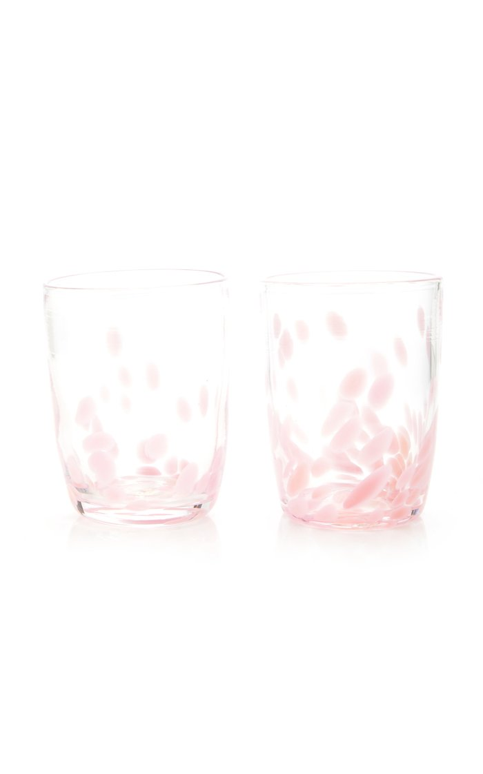 Pink & Transparent Spotted Set Of Two Tumblers