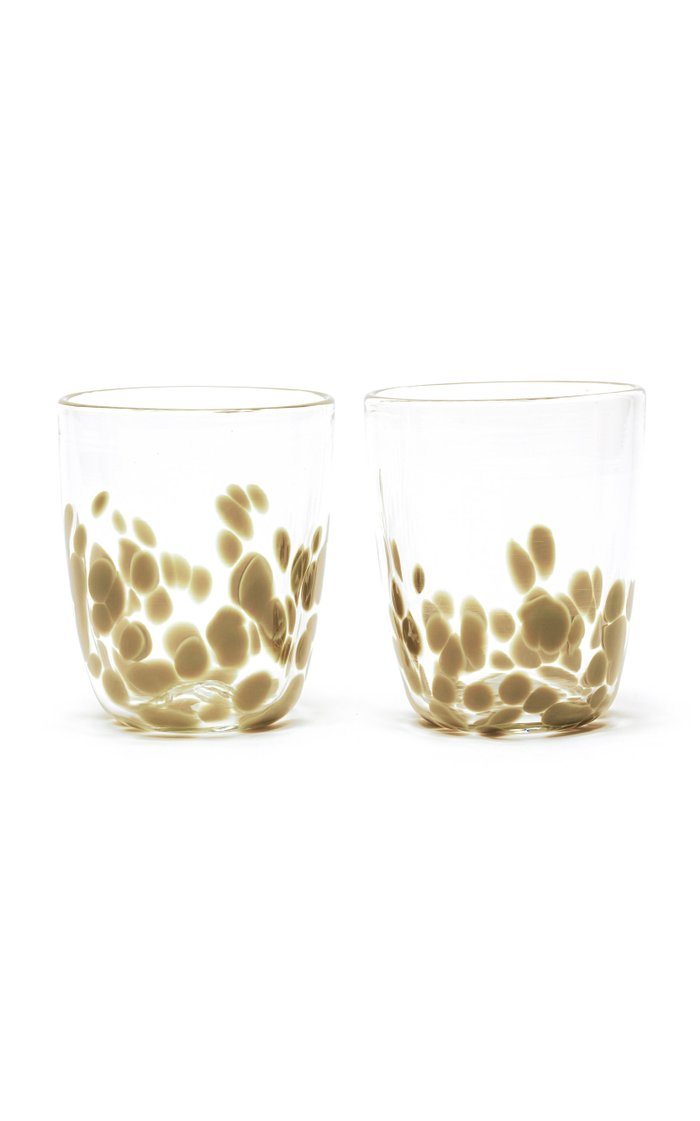 Olive & Transparent Spotted Set Of Two Tumblers