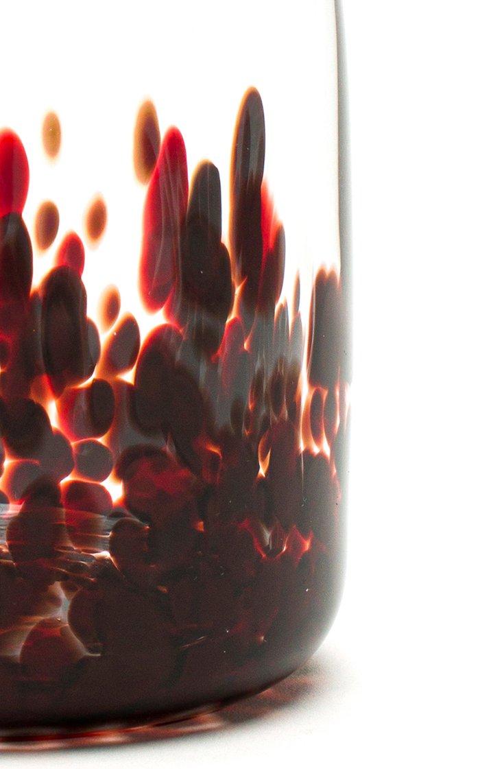 Burgundy & Transparent Spotted Carafe