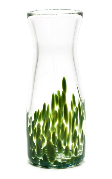 Forest Green & Transparent Spotted Carafe