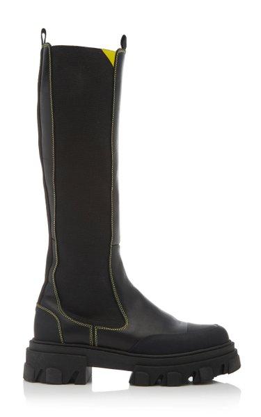 Lug-Sole Leather Knee-High Boots