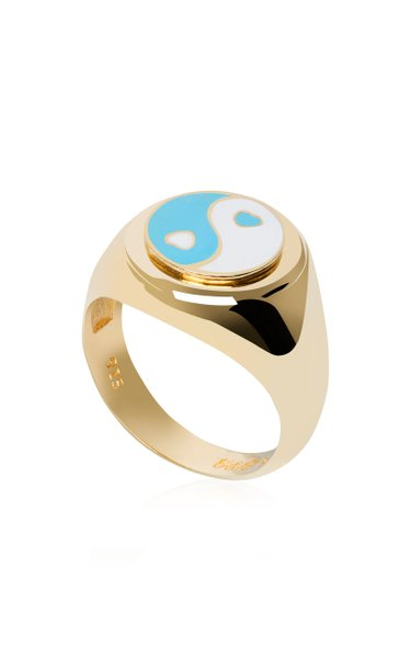 Gold-Plated Yin-Yang Signet Ring