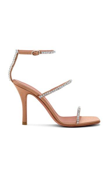 Gilda Crystal-Embellished Satin Sandals