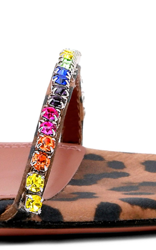Gilda Crystal-Embellished Leopard Satin Sandals