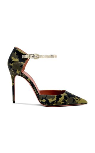 Usrina Crystal-Embellished Camouflage-Satin Pumps