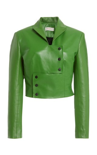 Button-Detailed Faux Leather Cropped Jacket
