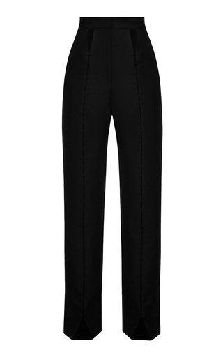 Cutout-Detailed Wool-Blend Straight-Leg Trousers